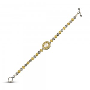 Bracelet with pearls and zircon B84-2