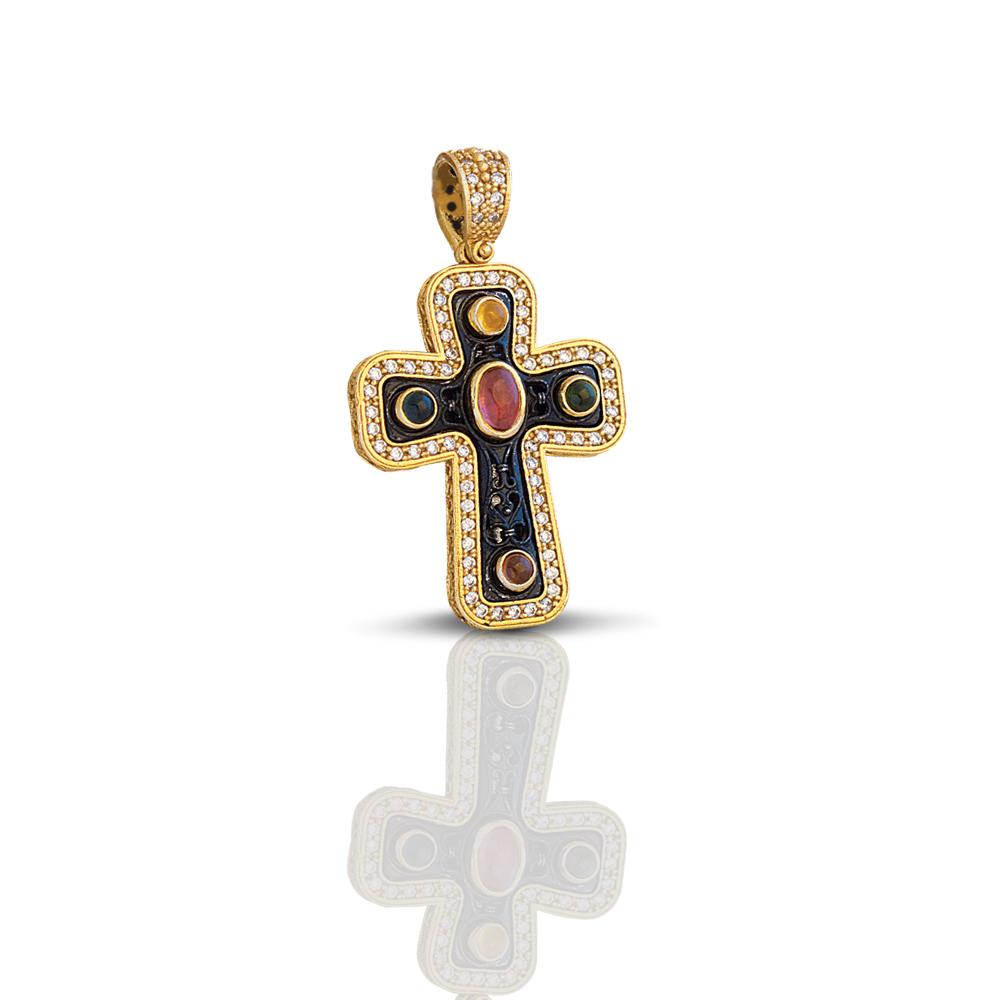 Cross with precious stones C251