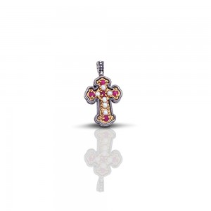 Cross with ruby and pearls C7