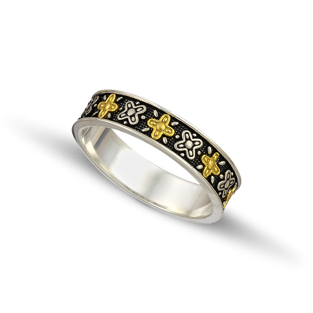 Silver gold wedding rings D123A