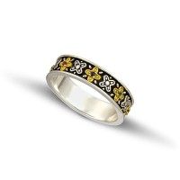 Silver gold wedding rings D123