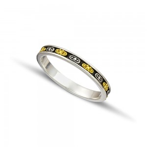 Silver gold wedding rings D124A