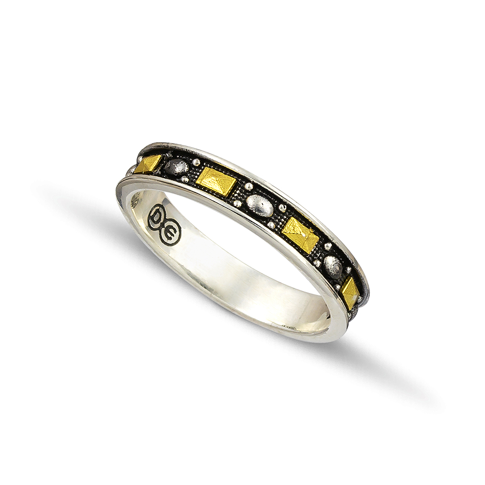 Silver gold wedding rings D125A