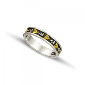 Silver gold wedding rings D126