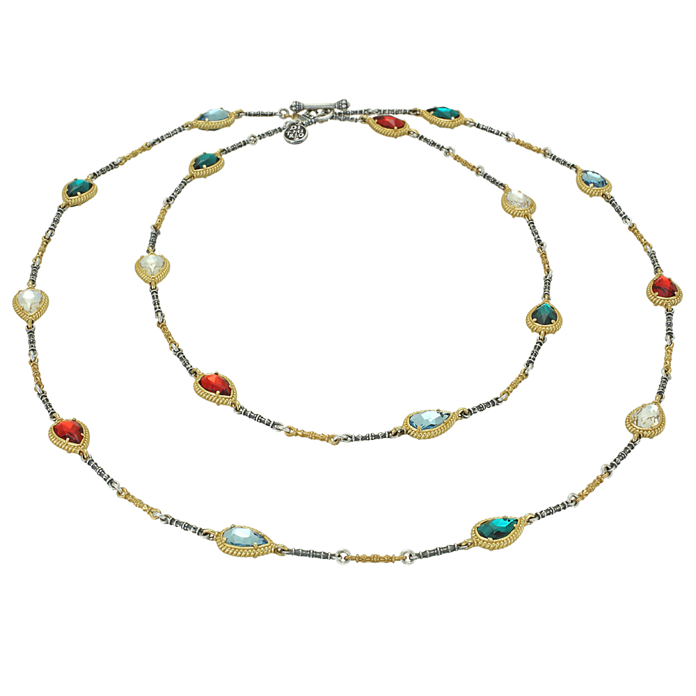 Reversible necklace with multicolor Swarovski crystals K131-1