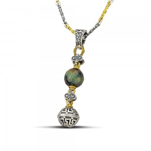 Pendant with mineral stone & tricolor chain M120-3