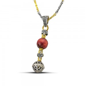 Pendant with mineral stones & tricolor chain M120-4