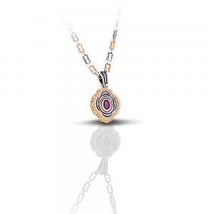 Pendant with semiprecious stone & tricolor chain M251