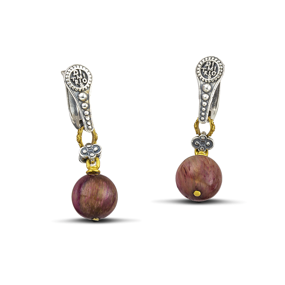 Earrings with mineral stones S120A
