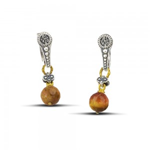 Earrings with mineral stones S120-4A