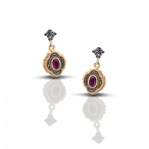 Earrings with mineral stones S217