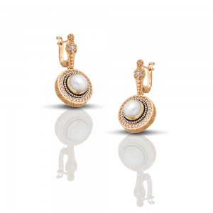 Earrings with pearls and zircon stones S259
