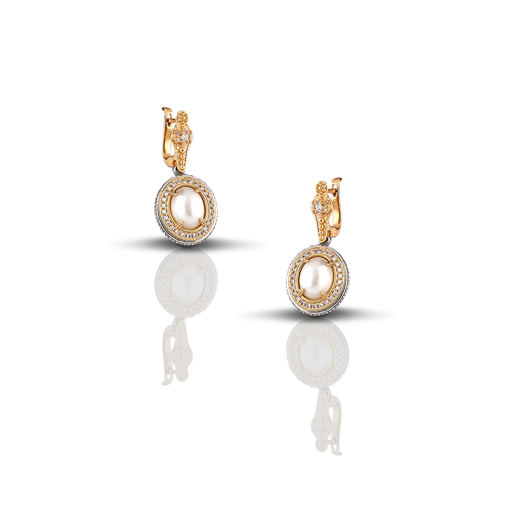 Earring with pearl and zircon s84